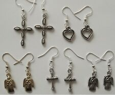 Earrings #K23 x 5 pair ANGEL CROSS HEARTS antiqued silver color