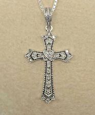 "BEAUTIFUL~925 Sterling Silver & DIAMOND Cross Pendant-18"" Box Chain - 1.6g  #977"