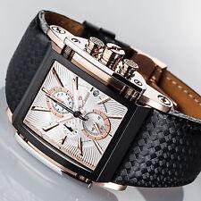 YVES CAMANI ESCAUT Chronograph Edelstahl Armband Schwarz Rotgold Rosegold Neu