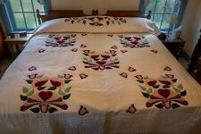 Vintage 1990's Amish Handmade Hand Stitched Quilt Cotton Appliqued Design Queen