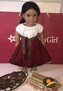 Retired American Girl Josefina Doll IN MEET OUTFIT Pleasant Company & Tea Set