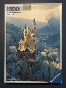 Vintage Ravensburger 1500 Piece Puzzle--Neuschwanstein Castle--1983--COMPLETE