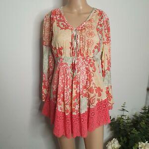 RUBY YAYA Size XS Boho Dress Floral Paisley Lace Trim Fluted Ruffle Sleeves Hipp