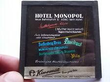 Altes Werbedia HOTEL MONOPOL Witten Kino Reklame Glasdia