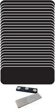 "25 BLANK 1 X 3 BLACK / WHITE NAME BADGE KIT (A) TAGS 1/4"" CORNERS MAGNETS"