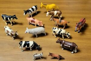 Lot Of Cows and Other Plastic Animals Ertl and Other Brands 14 Pcs.