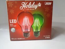 Feit Electric Holiday Red+Green A19 LED Light Bulbs-2-PACK