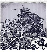 Nautical Shower Curtain, Kraken Octopus Tentacles with Ship