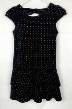 Youth Girls GEORGE Holiday Dress L10-12  Black Velvet w/ Sparkle Embellishments