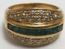 Emerald and Diamond Ring 18ct Gold Band