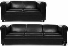 Broadway Sofa Set | Black Vinyl Leatherette
