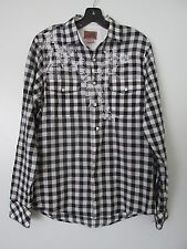 VINTAGE RED Black/White Check Embroidered  Long Sleeve Button Front Shirt SZ: M