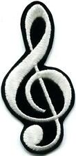 G clef treble musical note music scale classical applique iron-on patch S-691