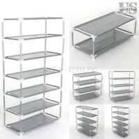Metal Shoes Rack Stand Storage Organizer Fabric Shelf Holder Stackable Closet US