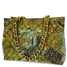 Auth CHANEL CC Camellia GST Quilted Chain Shoulder Bag Coating Canvas BE 61V1193