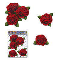 FLOWER Red Rose Small Pack Decal Car Stickers - ST00066RD_SML - JAS Stickers