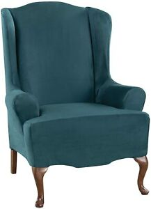 Sure Fit Ultimate Stretch Suede WING chair Slipcover peacock teal new washable B
