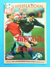 REPUBLIC OF IRELAND v CROATIA - 1996 Intern. football match programme * soccer