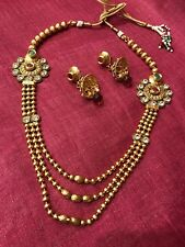 Indian Pakistani Rani Har Gold Plated Ruby Green Pearl Moti Necklace Pendant Set