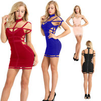Women's Off Shoulder Halter Bodycon Evening Party Cocktail Club Mini Short Dress