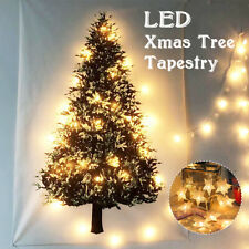Christmas Tree Tapestry Wall Hanging Blanket String Wreath Fairy Lights
