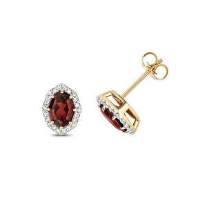 Garnet & Diamond Octagon Stud Earrings Yellow Gold Studs.