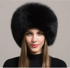 Black fox fur leather hat Russian Ushanka/Cossack Trapper Hat