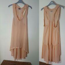 By Malene Birger Silk Peach Nude Sheer Dress Long Top Tunic Floaty Size 36 UK 10