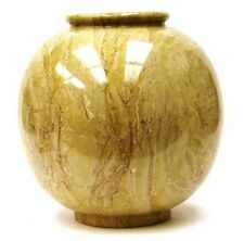 Luxury 12-Inch  Round Sahara Beige Marble Decorative Vase From Nature Home Decor