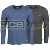 JCB Bamford Long Sleeved Marl T-Shirt Crew Neck Mens Work Casual Top Base Layer