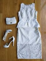 THURLEY Designer Dress White Lace Bridal Shower Hens Day Cocktail Party Size 10