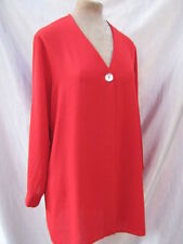 Sheer Long Red Shirt Blouse Floaty layer Jacket Coat Cardigan medium - 12