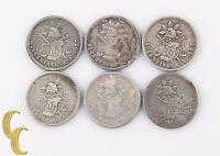 1877-1889 Mexico 25 Centavos Lot (F-VF, 6 coins) Zacatecas Guanajuato 25c KM-406