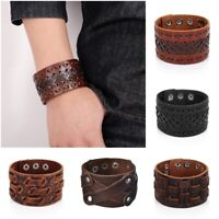 Mens Vintage Viking Genuine Leather Norse Celtic Design Bracelet Arm Ring