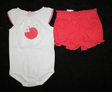 New Gymboree Peach Blossom Bodysuit Top & Shorts Set 6-12m NWT Spring Peach