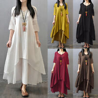 Summer Womens Cotton Linen Layered Loose Maxi Dress Party Cocktail Long Sundress
