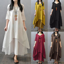 AU 8-24 Womens Vintage Cotton Linen Sundress V Neck A Line Beach Long Maxi Dress
