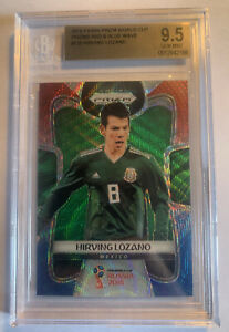 2018 PANINI PRIZM WORLD CUP #135 HIRVING LOZANO RED BLUE WAVE BGS 9.5 GEM MINT