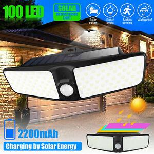 Solar Powered 100LED Motion Sensor & Light Sensor Floodlight Lamp Outdoor Bright