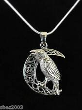 Genuine Raven, Moon Pentagram Pendant  by Lisa Parker 925 Sterling Silver