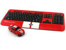 Ford Mustang GT Wireless Keyboard & Mouse Sports Car Mice Gift Computer- Red