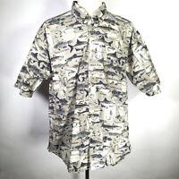 Columbia Short Sleeve Casual Camp Shirt Men's Size XL 100% Cotton Fish