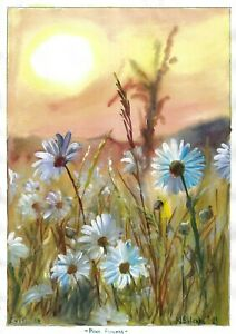 original painting A3 116BOK art samovar watercolor landscape flowers dawn