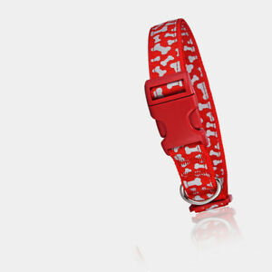 Dog Nylon Red Reflective Adjustable Training Safety Small Glow Flash Collar USA
