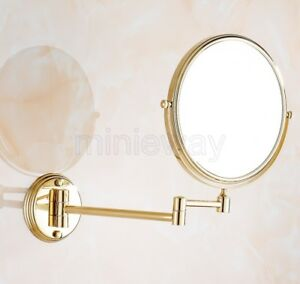 Magnifying Makeup Mirror Wall Mounted Double Sided Gold Color Brass mba629