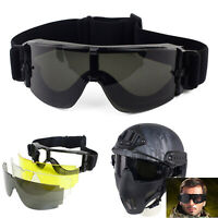 3 Lens Tactical Airsoft UV-400 Protection Helmet Goggles Eye Wear Safety Glasses
