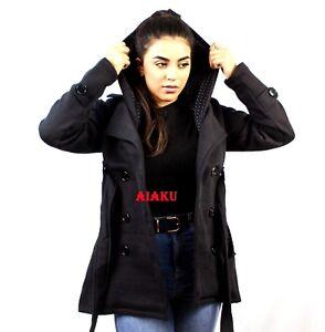 Women Winter Inner Fleece Black Hoodie Coat Jacket Size M,L,XL
