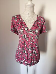 White Stuff Size 12 Pink Grey Short Sleeve Top