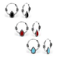 925 Sterling Silver Teardrop Bali Sleeper Hoop Earrings Kids Girls Women