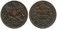 """Rare British India """"East India Company"""" 1835 """"(1/2) Half Anna"""" Copper Coin"""